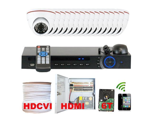 GW Professional 16 Channel HD-CVI DVR Security Camera System with 16 x 1/2.9 HDCVI Color IR CCTV Indoor Camera, 1.0Mega pixel Color CMOS, 3.6mm ...