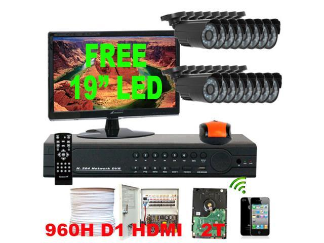 GW Professional 16 Channel H.264 960H & D1 Realtime DVR Security Camera System with 16 x 1/3