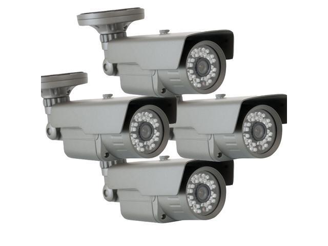 GW (4) Pack 650 TVL Weather Proof Outdoor and Indoor Security Camera 3.6mm Lens 30 PCs IR LEDs 82 feet IR distance Surveillance CCTV Bullet ...