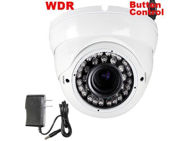 GW 700 TVL Sony CCD 2.8~12mm Varifocal Lens WDR 36PCs IR LED 82 feet IR Distance Surveillance CCTV Dome Indoor Security Camera with Power Adapter ...