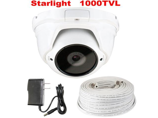 GW Starlight Eyeball Camera 1000 TVL Color Night Vision Sony CMOS Sensor 4mm Megapixel Lens CCTV Surveillance Security Camera with 100 Feet RG59 ...