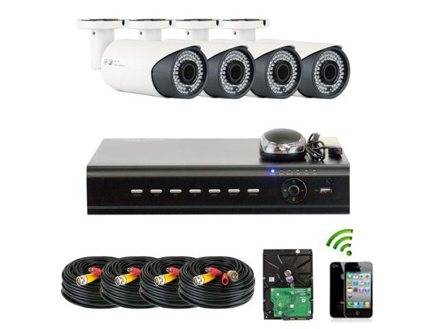GW 4 Channel HD-TVI Security Camera Package - 4x HDTVI Camera, 1080P Display, 720P Recording HDMI Output, 2.8~12mm Manual Varifocal Lens, 196 ...