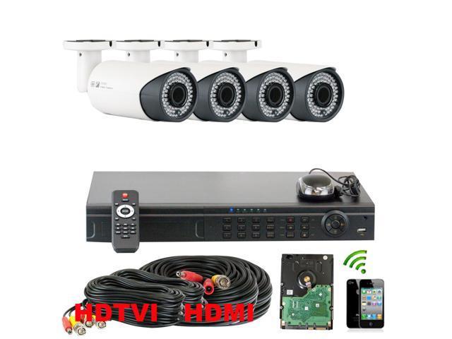 GW 8 Channel HD-TVI System 4x HDTVI Camera 1080P Display 720P Recording HDMI Output 2.8~12mm Manual Varifocal Lens 196 Feet IR Distance Weather ...