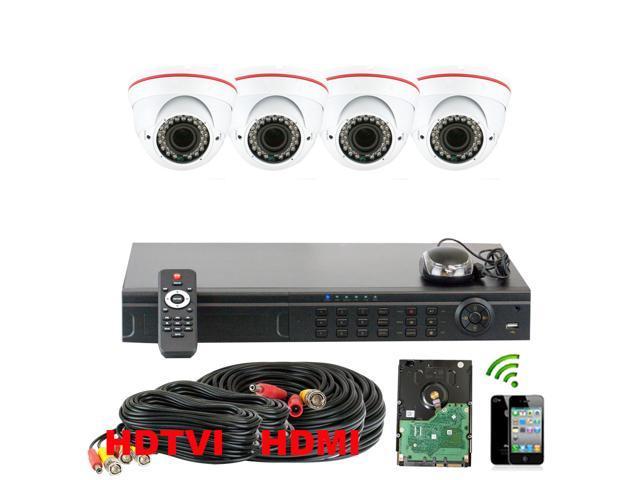 GW 8 Channel HD-TVI System 4x HDTVI Camera 1080P Display 720P Recording HDMI Output 2.8~12mm Manual Varifocal Lens 98 Feet IR Distance Indoor ...