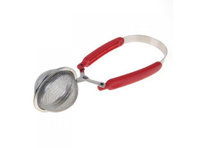 Stainless Steel Spoon Type Tea Infuser Strainer with Red Squeeze Handle