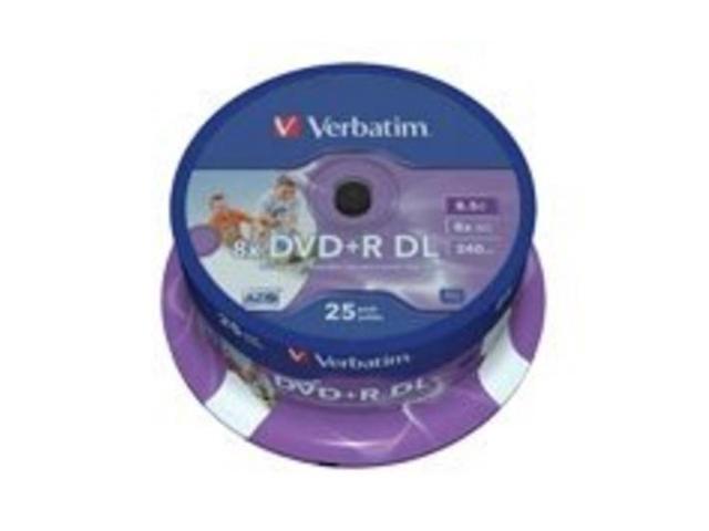 Verbatim DVD+R 8.5Gb D/L Spindle 25 Printable discs blank media