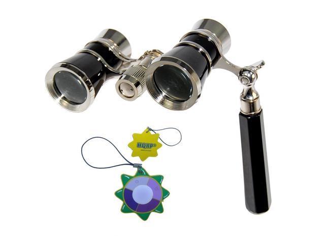 HQRP 3 x 25 Opera Glass Binocular w/ Built-In Extendable Handle Elegant Black Style with Silver Trim plus HQRP UV Meter