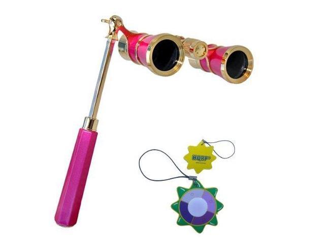 HQRP 3 x 25 Opera Glass Binocular w/ Built-In Extendable Handle / Pink-pearl with Gold Trim plus HQRP UV Meter