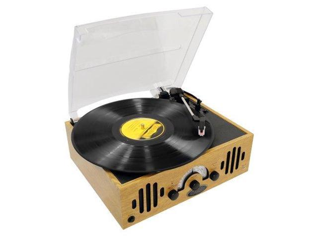 Pyle Audio PYLPVNTTR22B PYLE-HOME PVNTTR22 Retro Belt-Drive Turntable with Three Speeds and AM/FM Radio