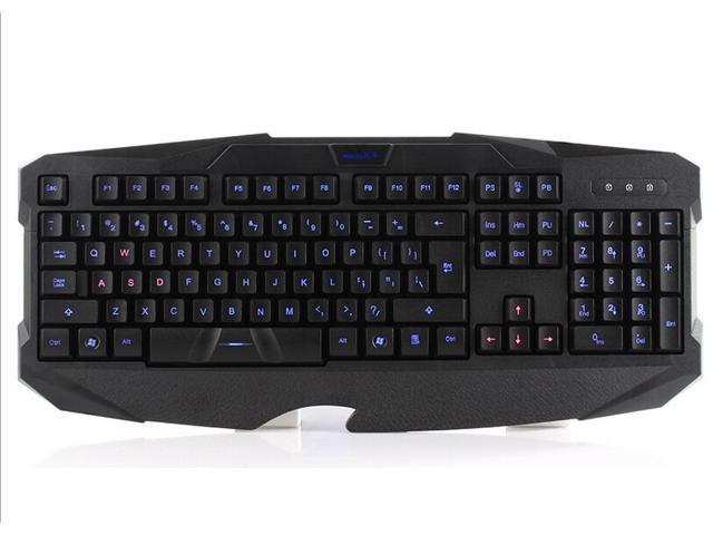 Blue LED Backlight Backlit USB Multimedia Illuminated Game Gaming Keyboard PC