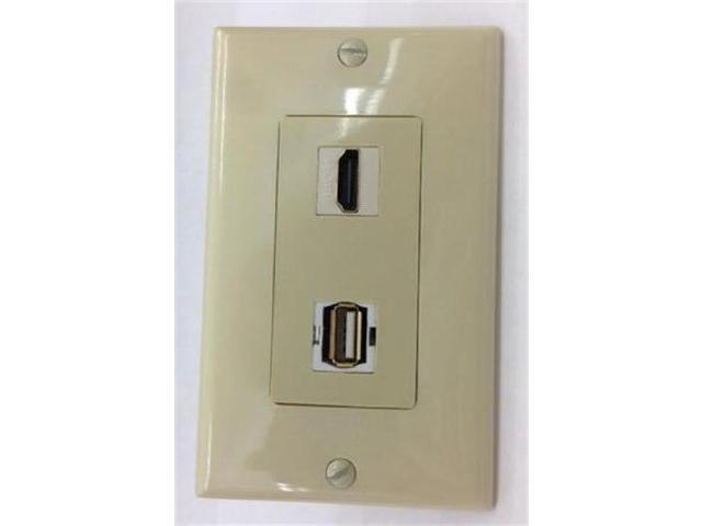 CERTICABLE CUSTOM MADE SINGLE GANG WALL PLATE IN IVORY - 1 HDMI + 1 USB FACE PLATE