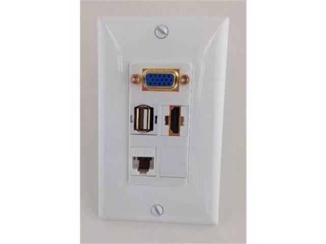 CERTICABLE CUSTOM WHITE SINGLE GANG WALL PLATE- 1- VGA/SVGA + 1- HDMI 1.4 + 1- USB 2.0 + 1- CAT5E RJ45 - OEM