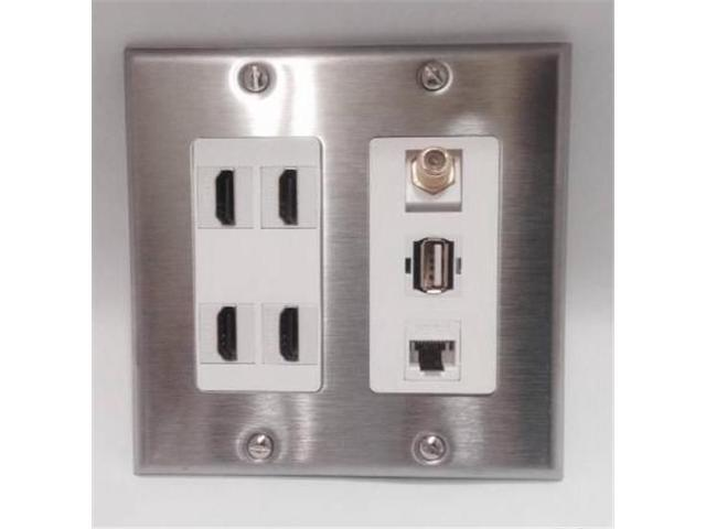 CERTICABLE CUSTOM STAINLESS & WHITE DOUBLE GANG WALL PLATE - 4 HDMI +1 USB 2.0 + 1 CAT5E RJ45 + 1 COAX