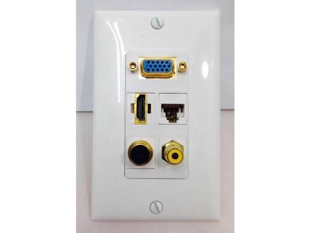 CERTICABLE CUSTOM DESIGNED WHITE SINGLE GANG WALL PLATE - VGA / SVGA + HDMI 1.4 + S-VIDEO + CAT6 RJ45 + RCA YELLOW - OEM ...