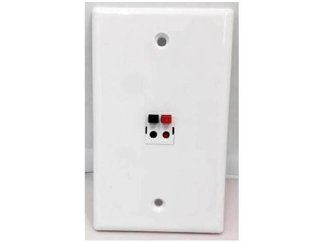 CERTICABLE CUSTOM DESIGNED WHITE SINGLE GANG WALL PLATE - ONE 2-POLE SPEAKER PLUG DUAL PUSH BUTTON - OEM