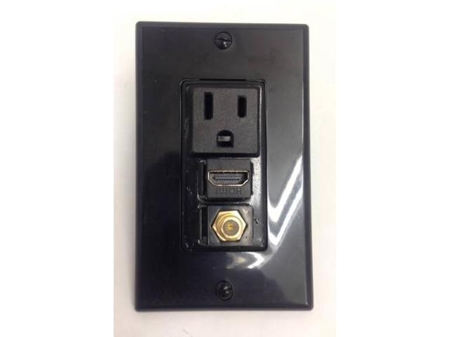 CERTICABLE CUSTOM BLACK SINGLE GANG WALL PLATE - 110V POWER + HDMI 1.4 + COAX TV