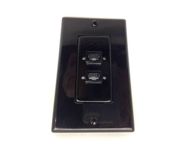 CERTICABLE BLACK SINGLE GANG WALL PLATE - 2 MPO FIBER OPTIC CABLE MTP SM MM OM3