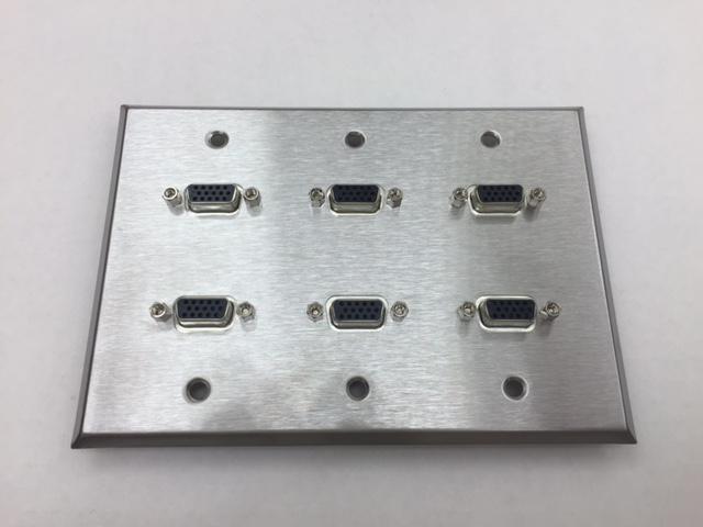 CERTICABLE CUSTOM STAINLESS STEELTRIPLE GANG WALL PLATE 6- SVGA/VGA PORTS - OEM