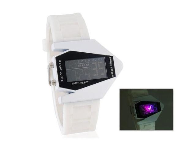 Stylish Digital Watch with Colorful Light & Silicone Strap (White) M.