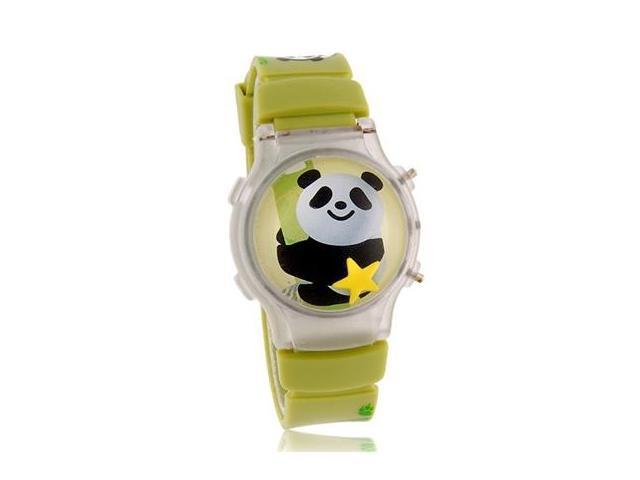 Cute Panda Design Round Dial Digital Watch with Flashing Light & Cover (Green)