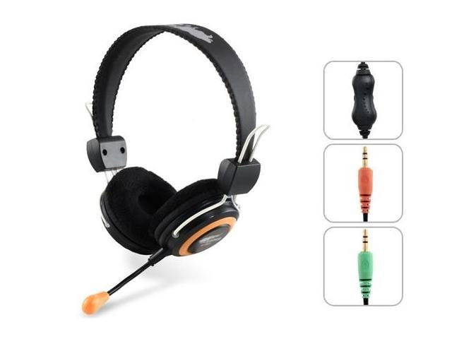 OVLENG Q7 USB Stereo Headphones with Microphone, Volume Control & 2m Cable (Black)