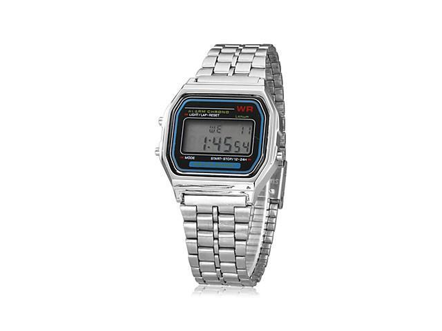 Unisex Multi-Function Square LCD Dial Alloy Band Digital Watch (Silver)