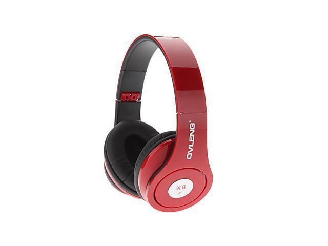OVLENG Powerful Sound Experience Dynamic Bass Headphone with Microphone for MacBook Air Pro , Red