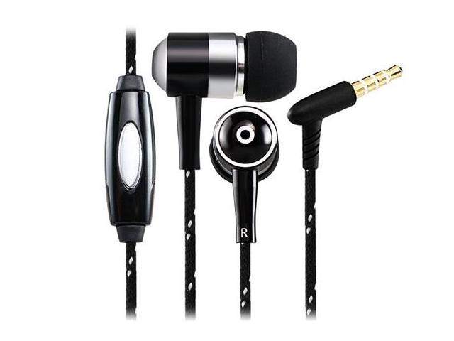 Langston 3.5mm Plug Bass Stereo Metal In-ear Earphones with Microphone & 1.2 m Cable for Samsung, Xiaomi, iPhone (Black)