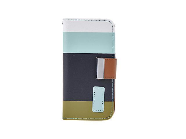 Colorful Layers Pattern PU Leather Folio Case with Stand, Card Slot and Strap for iPhone 5C (Assorted Colors) , Blue