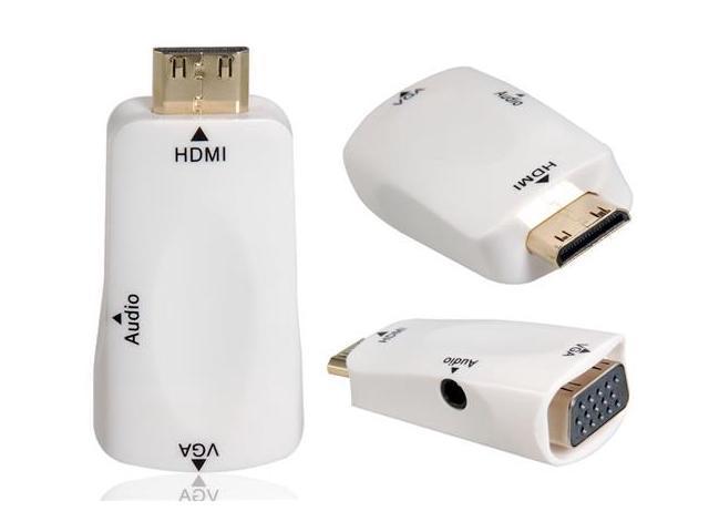 Mini HDMI Male to VGA Female Adapter with 3.5 mm Audio Jack (White)
