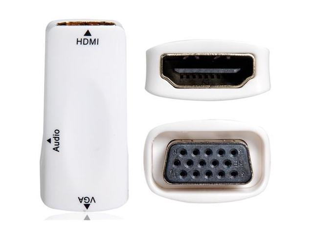 HDMI Male to VGA Female Adapter with 3.5 mm Audio Jack (White)