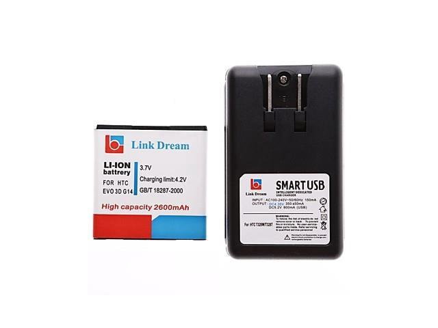 Link Dream Cell Phone Battery+Charger for HTC EVO 3D G14 G18 G21 (2600 mAh)