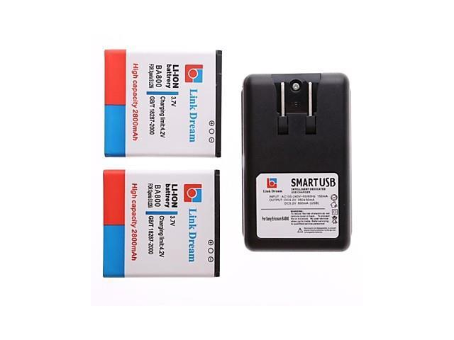 Link Dream 2 x Cell Phone Battery+Charger for Sony Xperia S LT26i Arc Hd (2800 mAh)