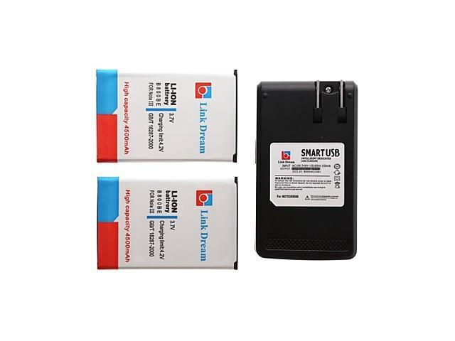 sold out Link Dream 2 x Cell Phone Battery+Charger for Samsung GalaxyNote3 N9000 N9005 N9002 N900 N900A (4500 mAh)