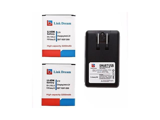 Link Dream 2 x Cell Phone Battery+Charger for Samsung Galaxy I9300 SIII S3 (3200 mAh)