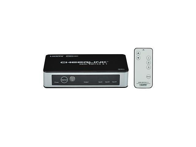 CHEERLINK 3-In 1-Out 1080P 3-Port HDMI 1.3 Switcher w/ Remote Control / Memory Function