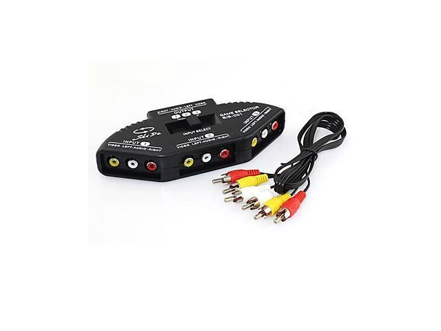 3 In 1 Audio Video AV RCA Composite Switch Switcher Splitter+Cable for XBOX DVD