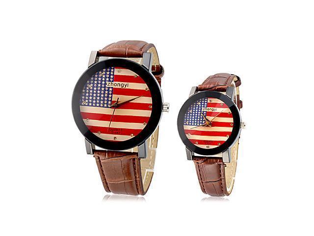 Couple's USA Flag Pattern PU Analog Quartz Wrist Watches (Assorted Band Colors) , Black