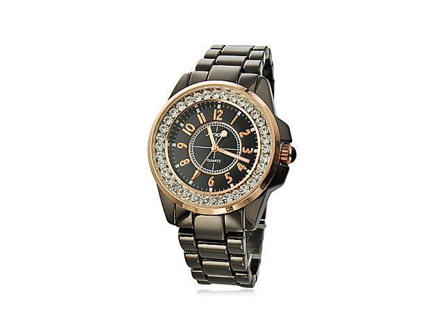 Couple's Diamond Gold Case Steel Analog Quartz Wrist Watches (Black)