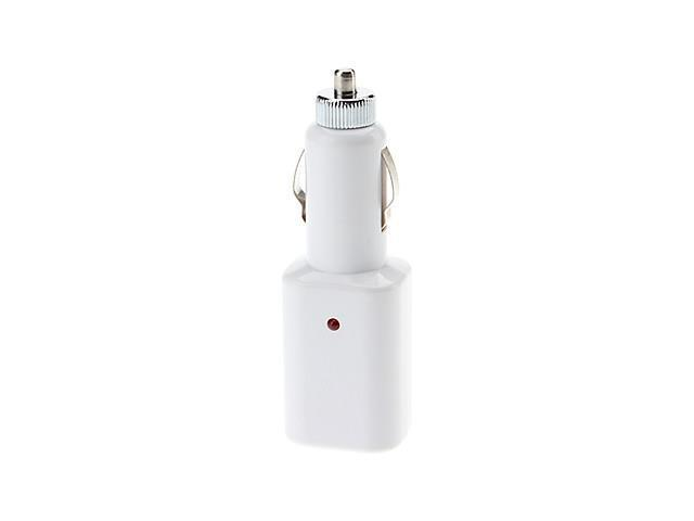 Dual USB Car Charger YXT-108A with 12 V Socket for Samsung Tablet, iPod, iPhone and More , White