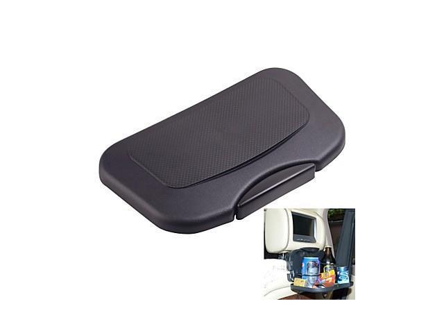 Car Headrest Mounted Foldable Plastic Service Tray (Optional Colors) , Black