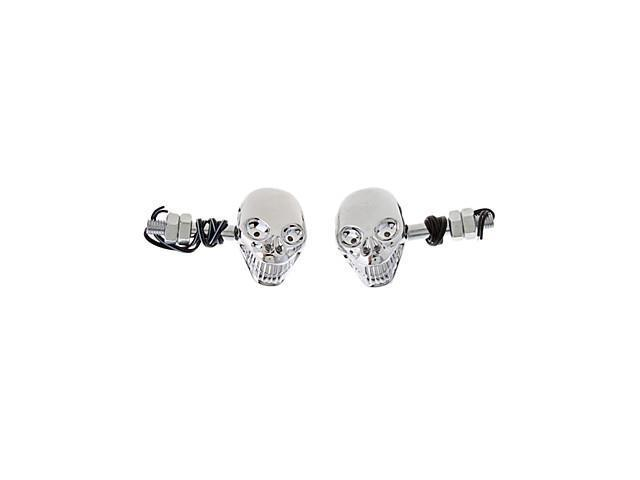 Skull Shaped LED Signal Tunning Light for Motorcyles (2-Pieces, DC 12V, Yellow light)