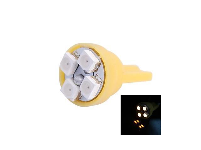 T10 4W 120LM 4×3528 SMD LED Yellow Light for Car Dashboard / Door / Trunk Lamps (DC 12V,, 1Pcs)