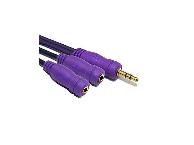1.5M 4.92FT Single Earphone Jack to Double Jacks Adapter (Purple)