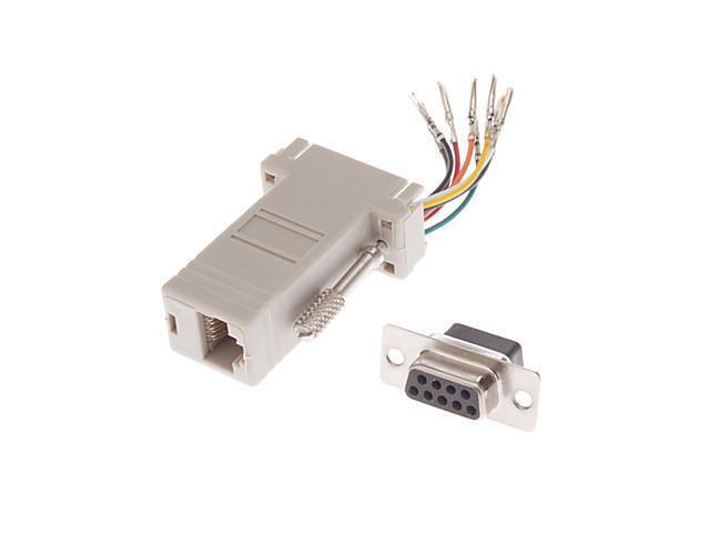 DB9 Male to RJ-12 Female Modular Adaptor White