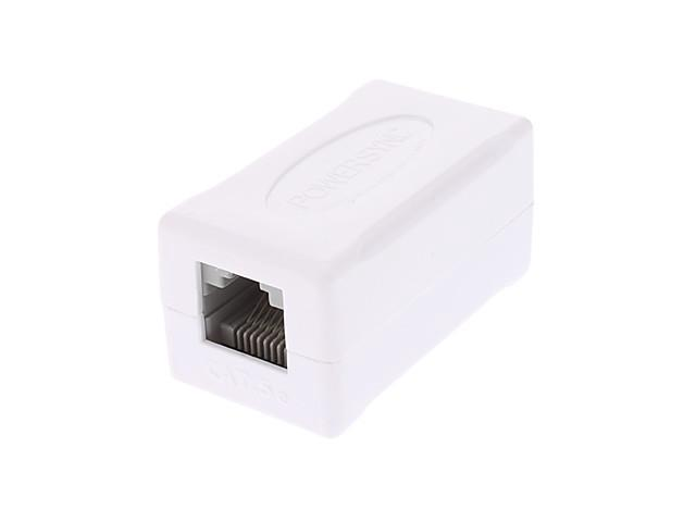 PowerSync CAT.5 RJ45 8P8C Female to Female Network Adapter (White)
