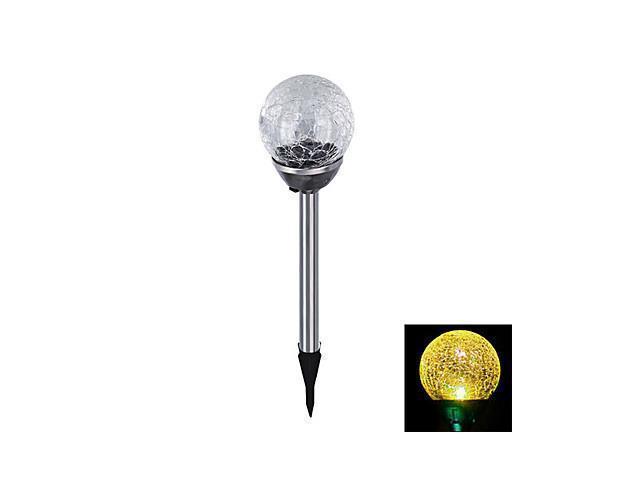 Yellow Light LED Solar Light Crackle Glass Ball Stake Light