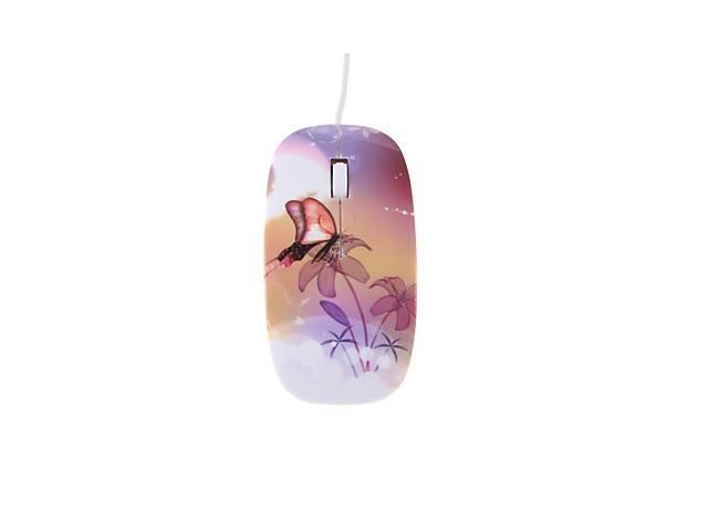 Butterfly Flowers Color Printing 1200DPI Optical USB2.0/1.1 Wired Mouse