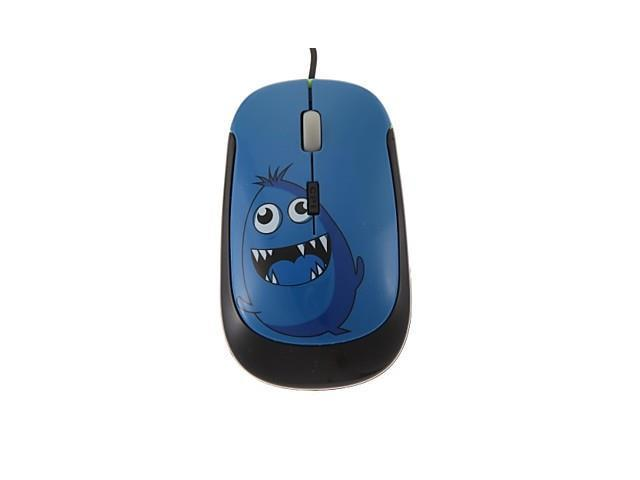 Blue Little Monster Optical USB2.0 Wired Mouse for Notebooks