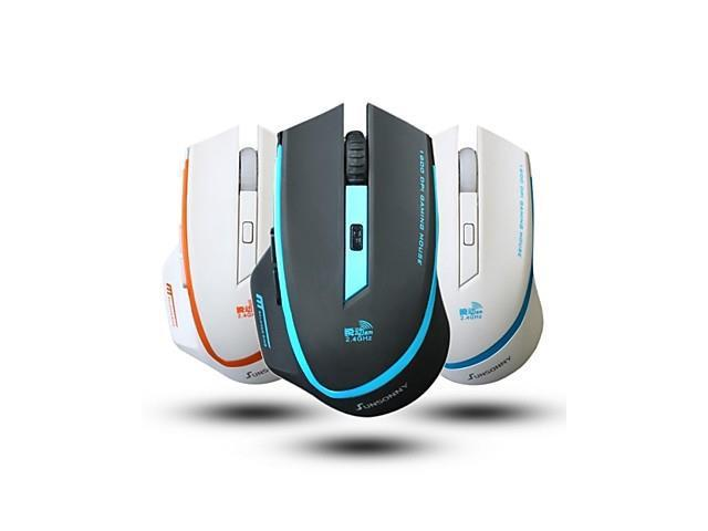 Sunsonny SR-8509III 2.4GHz Wireless 500/1000/1600 DPI 6 Button Gaming Mouse with Nano Receiver , White